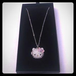 Hello Kitty rhinestone locket w/ adjustable chain